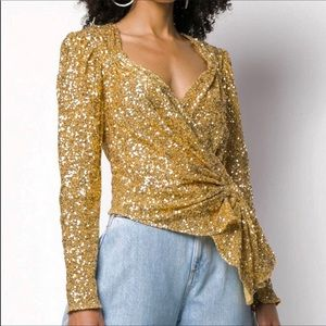 The Attico Gold Sequinned Wrap Top S 4/40